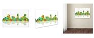 "Trademark Global Marlene Watson 'Denver Colorado Skyline II' Canvas Art - 12"" x 19"""