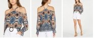 INC International Concepts INC Tie-Dyed Cold-Shoulder Blouse, Created for Macy's