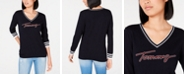 Tommy Hilfiger Logo Ivy V-Neck Sweater, Created for Macy's