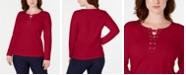 Karen Scott Sport Lace-Up Sweatshirt, Created for Macy's