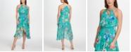 kensie Ruffle Floral-Print Dress