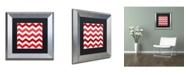 "Trademark Global Color Bakery 'Xmas Chevron 2' Matted Framed Art - 11"" x 11"""