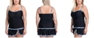 Profile by Gottex Plus Pin Wheel Sweetheart Tankini Top & Plus Size Pin Wheel Side Slit Skirted Swim Bottom