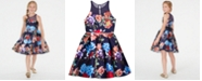 Rare Editions Big Girls Floral-Print Illusion Dress