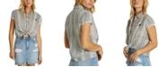 Billabong Juniors' Cotton Cropped Tie-Front Shirt