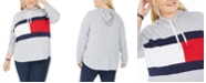 Tommy Hilfiger Plus Size Colorblocked Logo Hoodie, Created For Macy's