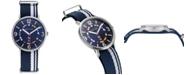 Nautica N83 Men's NAPWGS902 Wave Garden Blue/White Stripe Fabric Slip-Thru Strap Watch