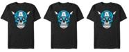 Marvel Men's Captain America Sugar Skull Big Face Mask Short Sleeve T-Shirt