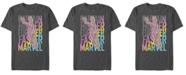 Marvel Men's Captain Marvel Pop Art Captains Words Short Sleeve T-Shirt