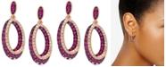 EFFY Collection EFFY® Certified Ruby (7/8 ct. t.w.) & Diamond (1/5 ct. t.w.) Drop Hoop Earrings in 14k Rose Gold
