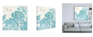 "Trademark Global Sue Schlabach Toile Roses V Teal Cherish Canvas Art - 15.5"" x 21"""