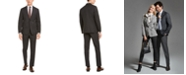 DKNY Men's Modern-Fit Stretch Charcoal/Brown Plaid Suit Separates
