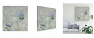 "Trademark Global Pablo Esteban Blue Flowers Over Gray 1 Canvas Art - 36.5"" x 48"""
