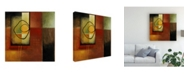 "Trademark Global Pablo Esteban Line Art Over Gematric Pattern 1 Canvas Art - 15.5"" x 21"""