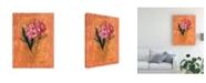 "Trademark Global Pablo Esteban Pink Flowers Red Canvas Art - 15.5"" x 21"""