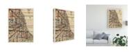 "Trademark Global Nikki Galapon Modern Map of Chicago Canvas Art - 19.5"" x 26"""