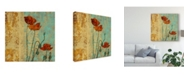 """Trademark Global Louise Montillio Poppies and Damask I Canvas Art - 15"""" x 20"""""""