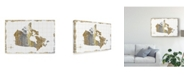 "Trademark Global Wild Apple Portfolio Gilded Map Canada Canvas Art - 15"" x 20"""