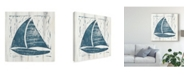 "Trademark Global Courtney Prahl Nautical Collage IV on White Wood Canvas Art - 20"" x 25"""