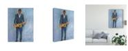"Trademark Global Samuel Dixon Sax in a Blue Suit Canvas Art - 15"" x 20"""