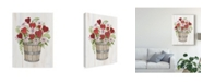 "Trademark Global Kathleen Parr Mckenna Rustic Valentine Bushel Basket Canvas Art - 37"" x 49"""