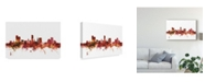 "Trademark Global Michael Tompsett Leicester England Skyline Red Canvas Art - 15"" x 20"""