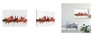 "Trademark Global Michael Tompsett Milan Italy Skyline Red Canvas Art - 20"" x 25"""