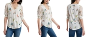 Lucky Brand Printed Contrast Peasant Top