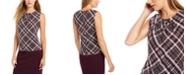 Calvin Klein Plaid Pleated-Neck Top
