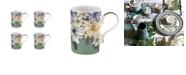 Portmeirion Atrium Floral Mug, Set of 4