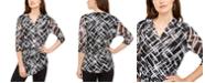Alfani Petite 3/4-Sleeve Printed Tunic, Created fro Macy's