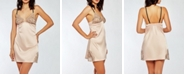 iCollection Contrast-Trim Silky Chemise Nightgown with Eyelash Flower Lace