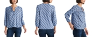 Lucky Brand Lace Button-Up Mock Neck Top