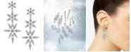 Eliot Danori Silver-Tone Crystal Snowflake Large Drop Earrings, Created For Macy's
