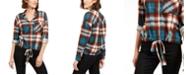 Polly & Esther Juniors' Soft Drawstring-Hem Plaid Shirt