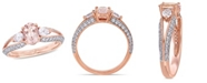 Macy's Morganite ( 3/4 ct. t.w.) and White Topaz (4/5 ct. t.w.) 3-Stone Ring in 10k Rose Gold