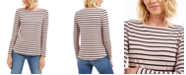 Charter Club Petite Ribbed Striped Top, Created For Macy's