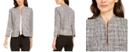Anne Klein Ann Klein Tweed Mandarin-Collar Jacket