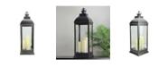 Northlight Large Brushed Candle Lantern with Flameless LED Candles