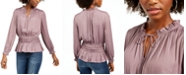 Current Air Shirred-Waist Split-Neck Top