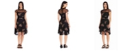 Adrianna Papell Floral Embroidered Dress with High Low Skirt