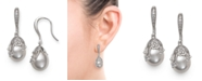 Macy's Cultured Freshwater Pearl (9-10 mm) and Cubic Zirconia Encrusted Drop Earrings in Sterling Silver