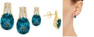 Macy's London Blue Topaz (4-3/8 ct. t.w.) & Diamond (1/10 ct. t.w.) Drop Earrings in 14k Gold