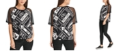 DKNY Graphic Mesh-Sleeve Top