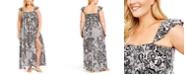 Raviya Plus Size Printed Smocked-Top Maxi Cover-Up Dress