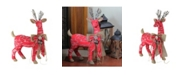 """Northlight 24"""" Country Rustic Red White and Brown Reindeer with Bow Christmas Decoration"""