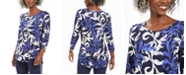 JM Collection Petite Printed Shirttail-Hem Top, Created For Macy's