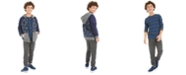Epic Threads Big Boys Camp-Print Fleece-Lined Full-Zip Hoodie, Stripe Thermal T-Shirt & Knit Moto Joggers, Created For Macy's