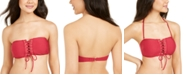 Hula Honey Juniors' Rhythm Rib Lace-Up Bandeau Bikini Top, Created For Macy's
