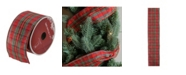 """Northlight Red and Green Stripe Wired Christmas Craft Ribbon 2.5"""" x 10 Yards"""